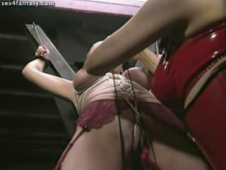 manacled lesbo acquires fingered