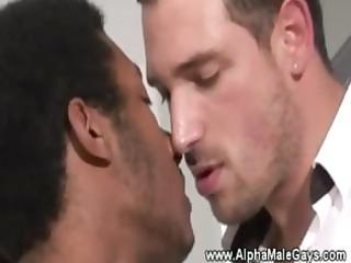 darksome homosexual receives sucked by masculine