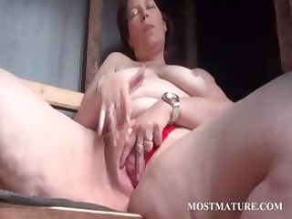 outdoor bawdy cleft masturbation with older