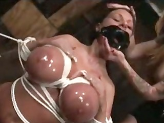 breasty chick overspread in cumshots