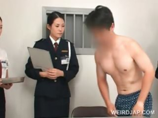 oriental police woman toying female taut wazoo on