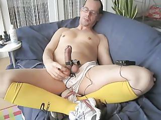 masturbate in sport gear. estim and jerk-off.