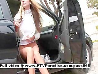 independent charming gal flashing in public
