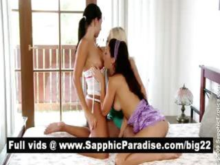 hawt dark brown and blond lesbians licking slit