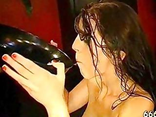 thirsty dark brown drinking urinate at a