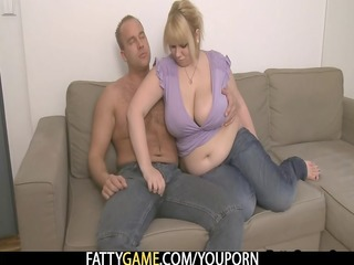 blond big beautiful woman takes it is hard from