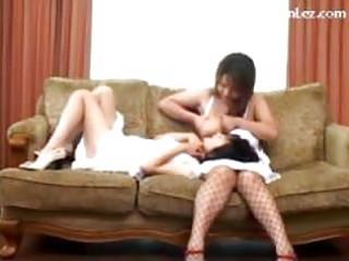 slender cutie engulfing breasty gals teats