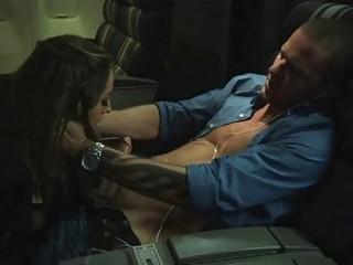stewardess stretches her fur pie around a bulky