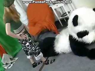 large stuffed panda bear comes to life to fuck a