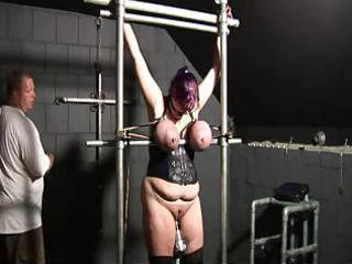 fastened large boobs, milk sacks punishment