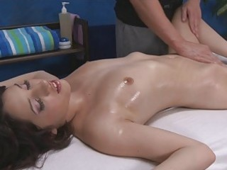 dark brown angel with petite boobs getting a