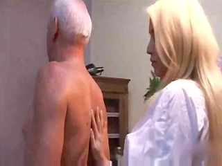enjoyable blond copulates old guy