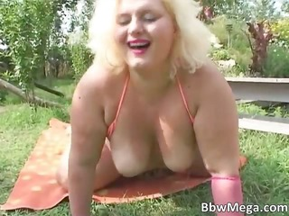 immodest fat brunette hair woman acquires wet