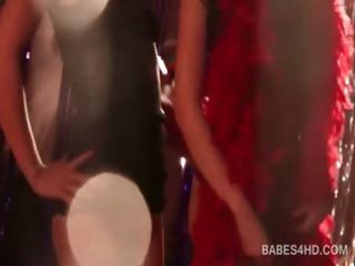 lusty lesbo paramours making out with excitement