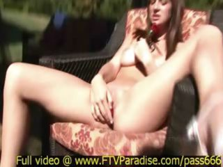 inventive breasty golden-haired playing outdoor