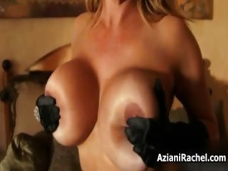 breasty blond d like to fuck rides a fake penis