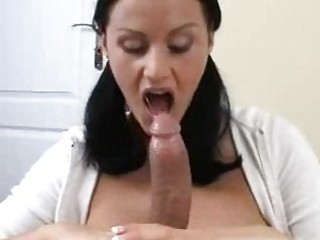 agreeable black haired honey with big puppies