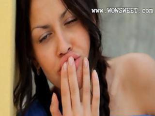 brunett hottie in heels rubbing a love button