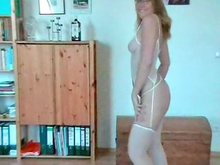 sexually excited aged golden-haired stripping and