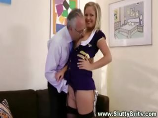 sexy chic blond engulfing old wang for this