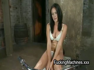 blindfolded breasty honey drilled by machine