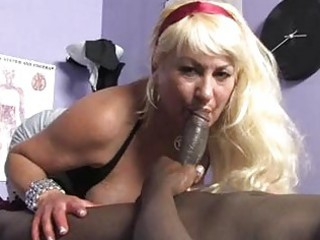 sporty golden-haired momma with big mambos sucks