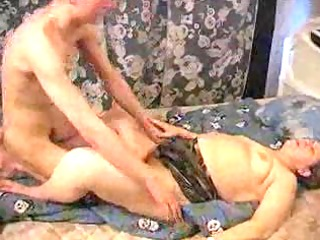 youthful lad playing with granny