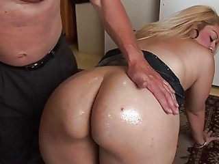 large arse plump blond acquires oiled and screwed