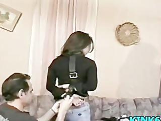 he is lightly spanks her wazoo