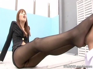 asian nylon pantyhose footjob sex