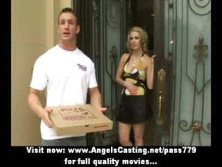 cute blond does oral sex and titsjob for pizza