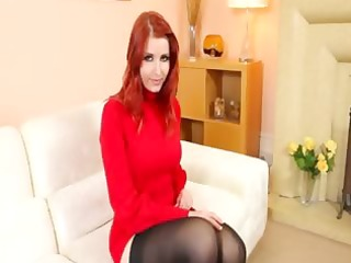 redhead in stockings stripping in red shoes