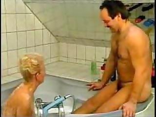 naughty german grandma drilled in bathtub