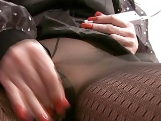 MILF Masturbating in Pantyhose and Boots