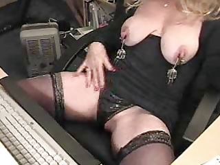 lady plays with her snatch