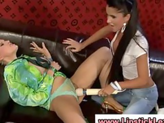 glamouors lesbian babes use toy on their wet