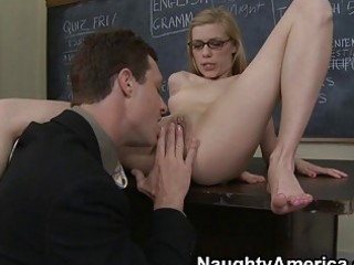 nerdy golden-haired receives slit licking in the