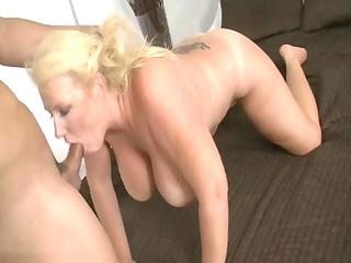 older golden-haired bitch sucking dick