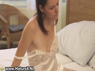 excited dark brown housewife enjoys rubbing part11