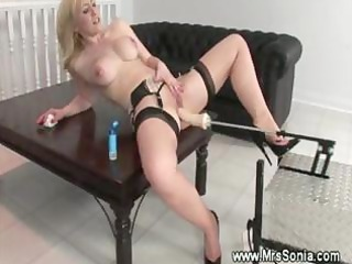 Blond milf and a fuck machine