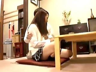 schoolgirl getting her milk sacks rubbed teats