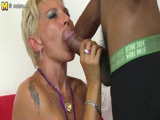 sexy white mom in an interracial fuckfest