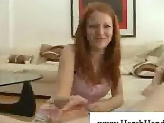 sexually excited redhead can giving a cook jerking