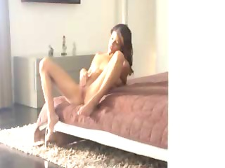 exotic girl rubbing love button in art video