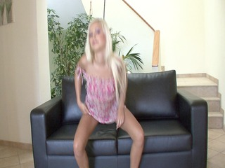 cute golden-haired honey plays with her vagina -