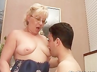 old floozy got doggy drilled by threesome