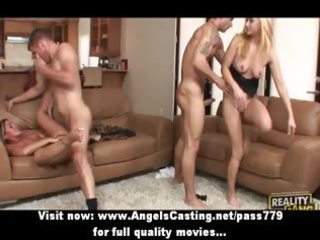 foursome sex fuckfest with blond babes riding