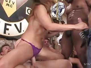 brunette hair bitch in purple lace belt receives