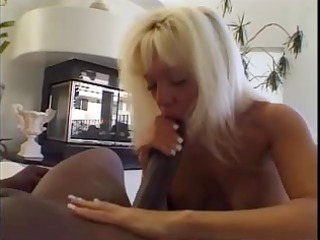blond mouth drains a biggest dark ding-dong