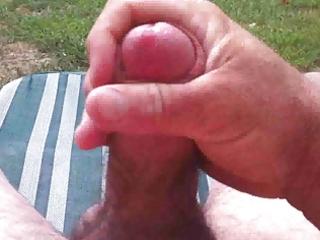 cumming in the back yard